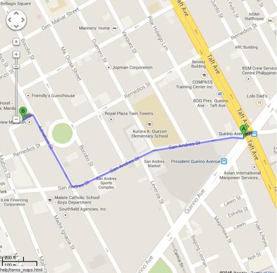 Peta Jalan Kaki dari LRT Quirino ke Malate Pensionne Hotel