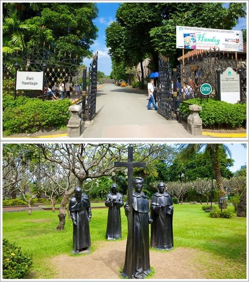 Pintu Gerbang Fort Santiago (atas) dan patung logam di tamannya (bawah)