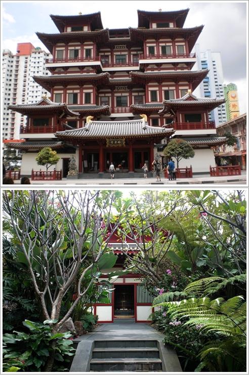 Bagian Depan Buddha Tooth Relic Temple (atas) dan taman di rooftopnya (bawah)