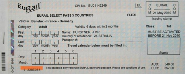 Contoh Eurail Select Pass 3 Country