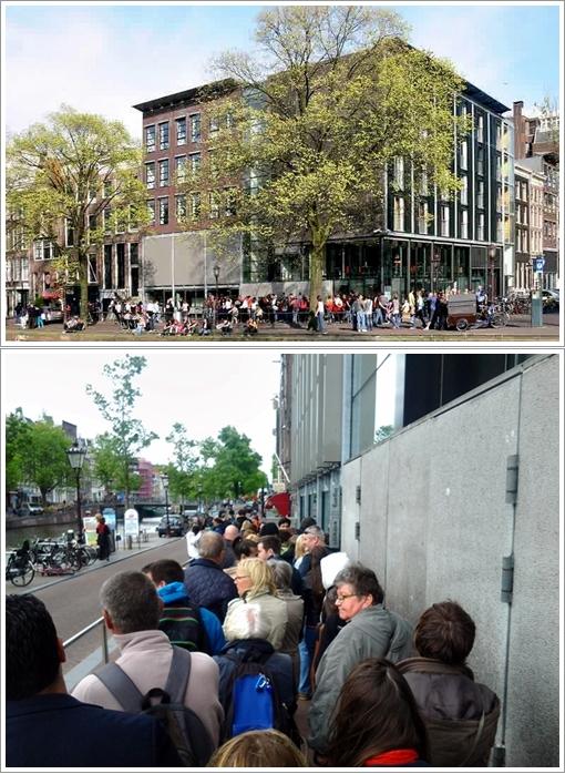 Bagian depan Anne Frank Museum dan antrian pengunjungnya