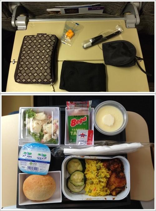 Etihad Amenity Kit (Atas) dan Contoh Hidangannya (bawah)