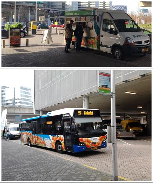 Mini van penjual tiket (atas) dan bis 858 ke Keukenhoff (bawah)