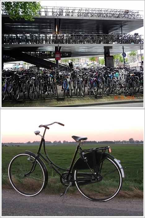 Tempat Parkir Sepeda (Fietsflat) dekat Amsterdam Centraal (atas), Omafiets (bawah)