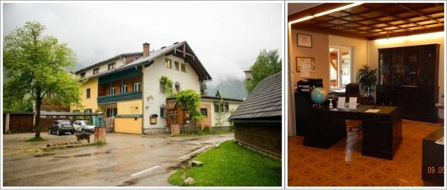 Pintu Mauk Hotel (Kiri) dan Meja Resepsionisnya (kanan)