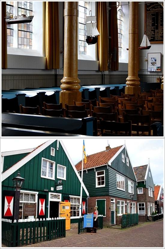 Bagian Dalam Grote Kerk dengan hiasan kapal diatasnya (atas), Bagian Depan Marker Museum (Bawah)