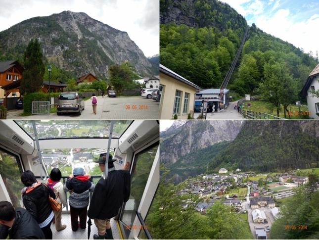 Jalan menuju Saltzwelten (kiri atas), Jalur Panorama Funicular (kanan atas), Di dalam Funicular (kiri bawah), Pemandangan dalam dari Funicular (kanan bawah)