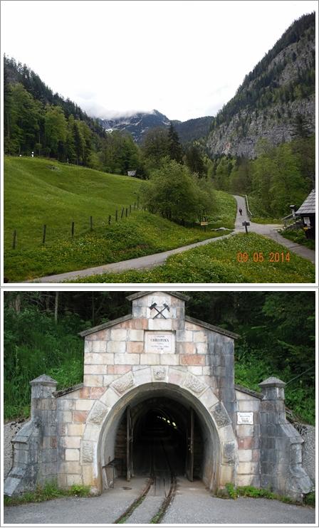 Jalan menuju tambang garam (atas) dan pintu masuknya (bawah)