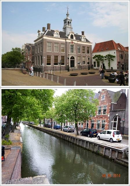 Edam Town Hall (atas) & Kanal-kanal di Edam (Bawah)