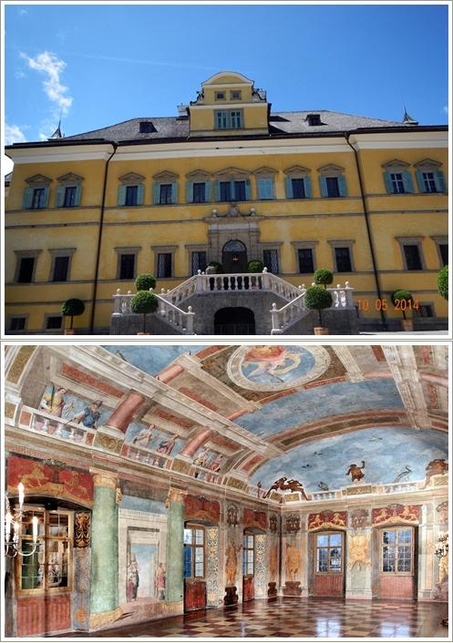 Bagian depan dan bagian dalam Hellbrunn Castle