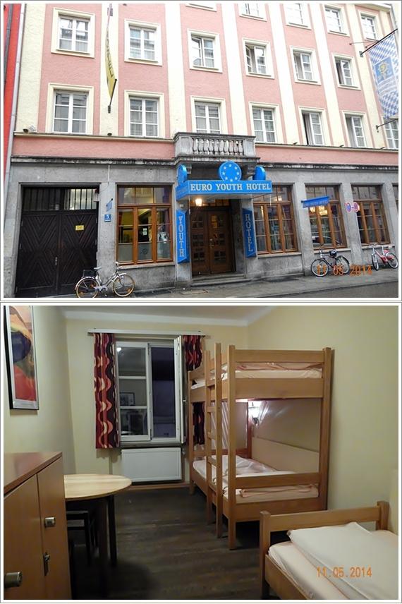 Bagian depan Euro Youth Hostel (atas) dan kamar kami (bawah)