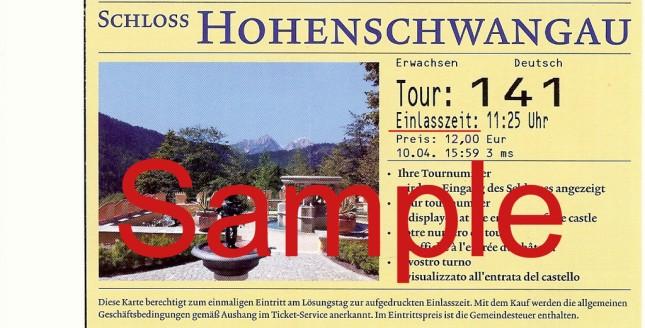 Contoh tiket ke Hohenschwangau Castle