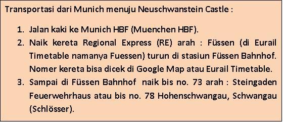 Rute kereta Munich - Fussen