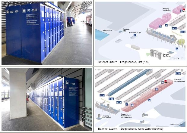 Luggage Storage Di Bagian Timur dan petanya (Atas), dan di bagian barat serta petanya (bawah)