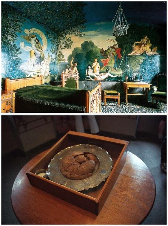 Tasso Room (atas) dan roti berusia 120 tahun (bawah). Photo by : neuschwanstein.de