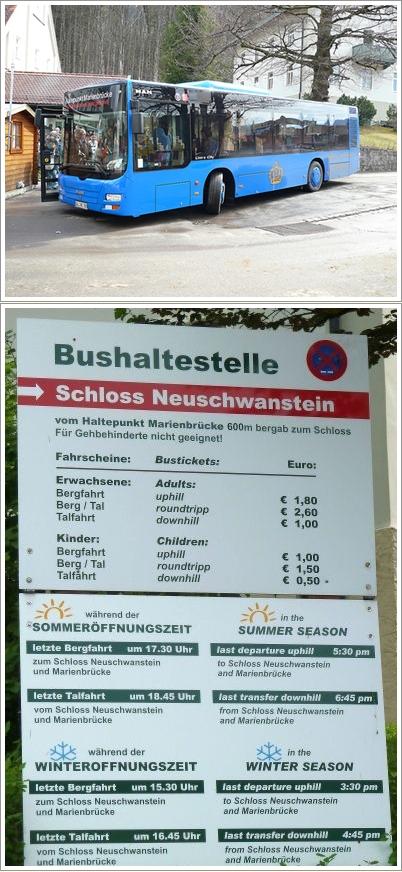 Bis menuju Neuschwanstein Castle (atas). Jadwal dan harga tiket bis (bawah)
