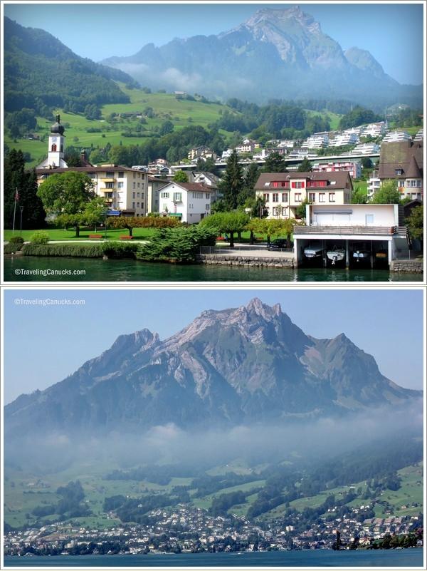 Pemandangan dari atas boat menyeberangi danau Luzern (Photo By : travelingcanucks.com)