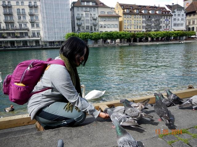Memberi makan burung dara di tepi sungai Reuss