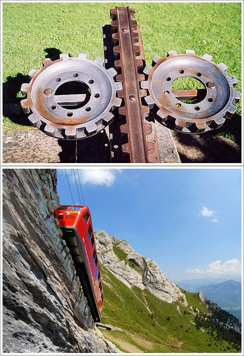 Locher Rack (atas) dan Pilatus Cogwheel Train (bawah) Photo by : pilatus.ch)