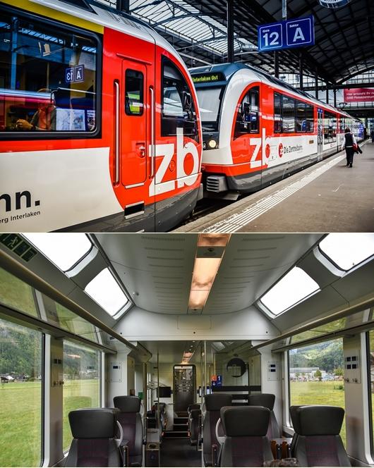 Bagian Luar dan dalam dari Panoramic Train ZentralBahn
