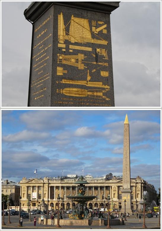 Diagram mesin pemindah Obelisk (atas), Place de la Concorde (bawah)