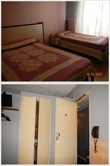 Kamar hotel kami (atas), Pintu sebelah kiri adalah pintu menuju kamar mandi (bawah)
