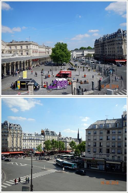 Pemandangan dari jendela hotel. Bangunan di pojok kiri atas adalah stasiun Gare de l'east. Sedangkan yang bawah halte bis dan metro di depan hotel