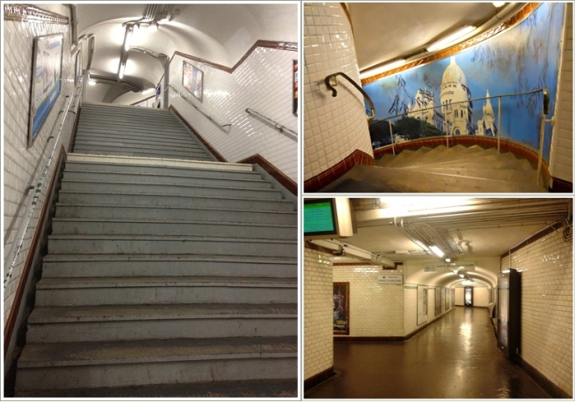 Lorong-lorong dan tangga-tangga dalam stasiun Metro Paris