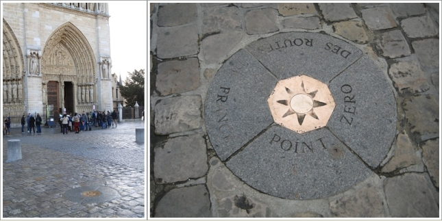 Paris Point of Zero (kanan) dan Letaknya di depan pintu gereja Notre Dame (Kiri)
